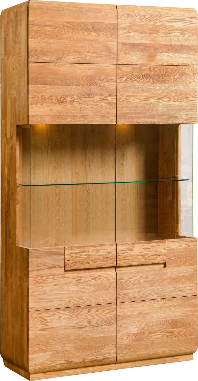 andas Stauraumvitrine »Freyr« aus massivem Eichenholz, inklusive einer Hintergrundbeleuchtung, Breite 100 cm