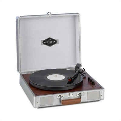 Auna »Billy Bob Plattenspieler mit BT Stereolautsprecher Bluetooth silber« Plattenspieler (Bluetooth)