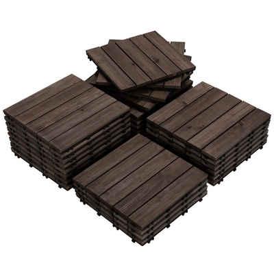 Yaheetech Holzfliesen, 27 Stück 30x30 cm Bodenbelag aus Tannenholz, Bodenfliesen für Terrassen und Balkon, Balkonfliesen Terrassefliese Klickfliesen, 5 Latten Fliese, wetterfest, schwarz