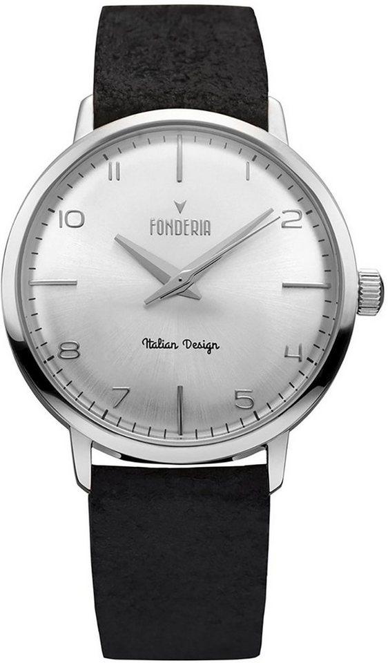 fonderia -  Chronograph »UAP6A003US6  Herren Uhr P-6A003US6 Leder«, (Analoguhr), Herren Armbanduhr rund, groß (ca. 41mm), Lederarmband schwarz