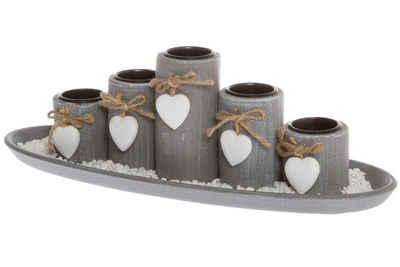 elbmöbel Kerzentablett »5 Teelichthalter mit Tablett«, Teelichthalter: 5er Set Tablett 13x39x14 cm grau stein kerzenhalter Dekorativ Teelicht