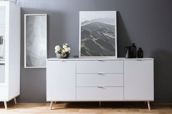 Newroom Sideboard »Elia«, Weiß Kommode Skandinavisch Anrichte Highboard Wohnzimmer Schlafzimmer