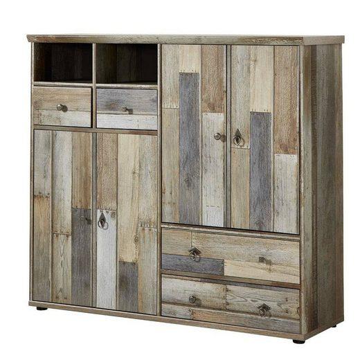 Lomadox Garderobenschrank »BRANSON-36« Schuhschrank Mehrzweckschrank Vintage Driftwood Braun BxHxT ca. 130x117x40cm