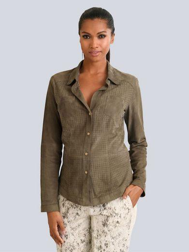 Alba Moda Lederhemd mit dezentem Lochmuster