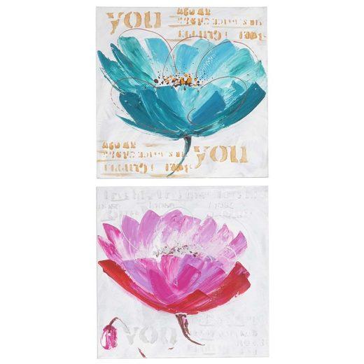 MCW Ölgemälde »Wandbild Orchidee«, Orchidee, Handgemalt, Hohe Qualität, Jedes Bild ein Unikat, Ölfarben