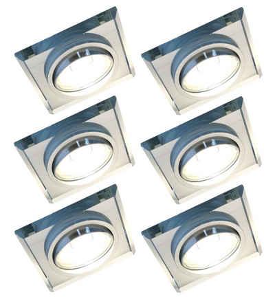 TRANGO LED Einbauleuchte »6729S-06G6KSD-AK 6er Set *CRYSTAL* LED Deckenstrahler aus handgeschliffenem Glas & Alu inkl. 6x 3-Stufen dimmbar GU10 LED Leuchtmittel 6000K Tageslichtweiß (kaltwei), Einbauleuchte, Einbauspot, Deckenleuchte, Deckenspots«