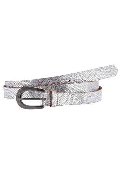 LASCANA Ledergürtel, Hüftgürtel in Metallic-Snake-Optik