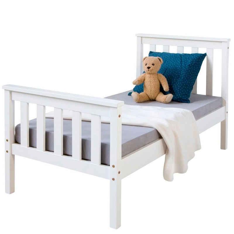Homestyle4u Holzbett »Bettgestell weiß Doppelbett Kinderbett Jugendbett«