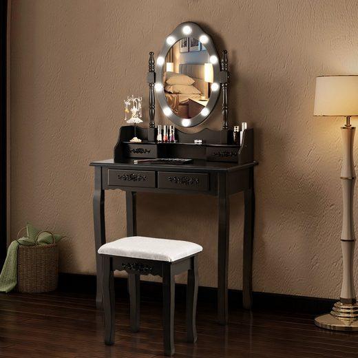 COSTWAY Schminktisch »Schminktisch«, mit Hocker, 360° drehbarem Spiegel und 10 dimmbaren LED-Birnen, Frisiertisch aus Tisch und Abnehmbarer Oberteil, Kosmetiktisch mit 4 Schubladen