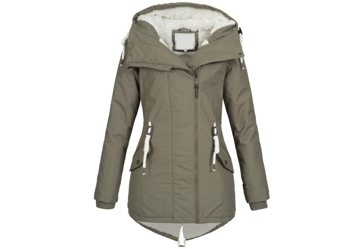 brave soul -  Winterjacke »OM98« Damen Winter Jacke mit Teddyfellfutter und Kapuze