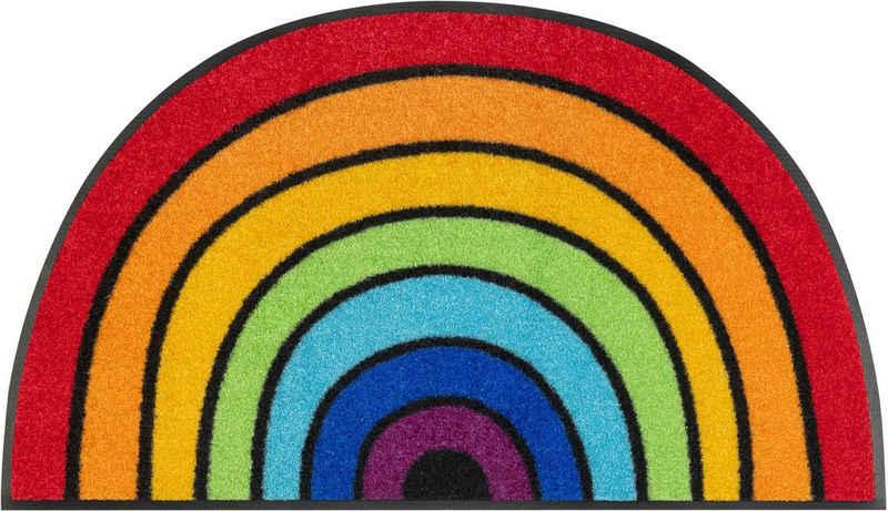 Fußmatte »Round Rainbow«, wash+dry by Kleen-Tex, halbrund, Höhe 7 mm, Schmutzfangmatte, In- und Outdoor geeignet, waschbar