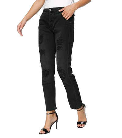 PLEASE Stoffhose »PLEASE Jeans top aktuelle Damen Denim-Hose mit Destroyed-Effekten Freizeit-Hose Schwarz«