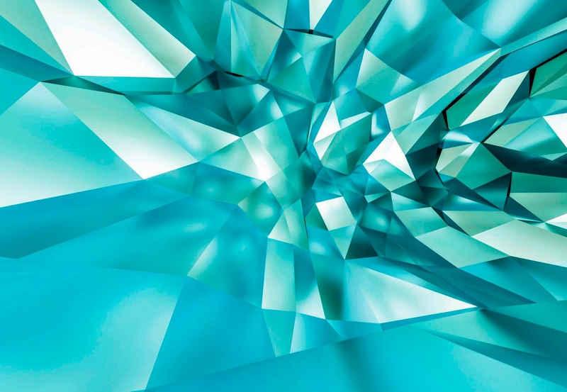 Komar Fototapete »3D Crystal Cave«, glatt, bedruckt, 3D-Optik, Kunst, (Set), ausgezeichnet lichtbeständig