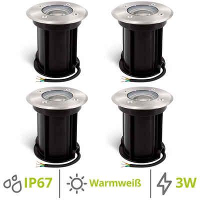 linovum Gartenstrahler »4er Set BORU LED Bodeneinbauleuchte mit GU10 LED Strahler 3W warmweiß - Spot IP67 rund«