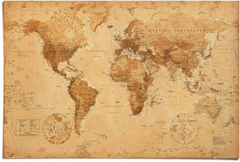 Reinders! Poster »Poster Weltkarte Antik Stil«, Weltkarte (1 Stück)