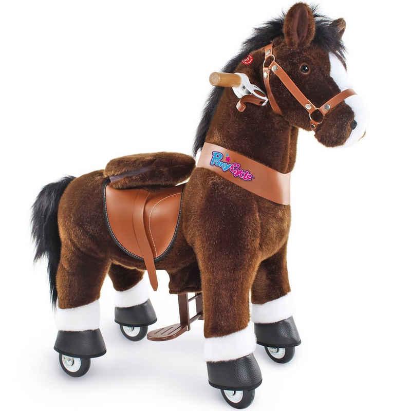 PonyCycle Reitpferd »Modell U 2021 Reiten auf Pferd Spielzeug Plüsch Lauftier - Dunkelbraunes Pferd mit Bremse und Ton«, U3 für 3-5 Jahre, Ux321, PonyCycle® Offizieller Shop