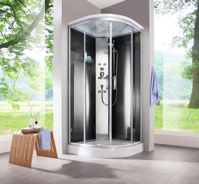 Duschen und Zubehör - welltime Komplettdusche »Porto«, BxT 90x90 cm, Einscheibensicherheitsglas, mit 6 Massagedüsen  - Onlineshop OTTO