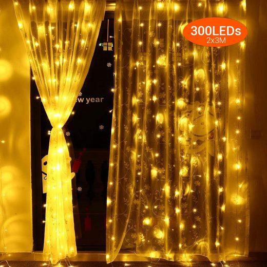 Quntis LED-Lichterkette, 300-flammig, Deko Lichterkette mit 8 verschiedene Leuchtmodi & Memoryfunktion