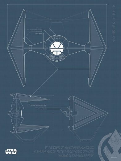 Komar Poster »Star Wars Blueprint Sith TIE-Fighter«, Star Wars