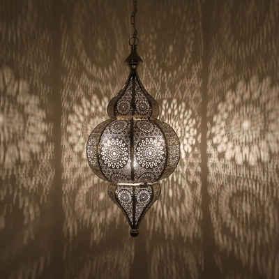Casa Moro Pendelleuchte »Orientalische Lampe Melisa Silber H 54 cm mit E27 Fassung Kette & Baldachin, Prachtvolle Deckenleuchte wie aus 1001 Nacht, Kunsthandwerk aus Marokko, LN2010«, LN2010