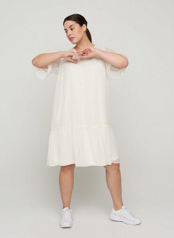 Festtagsmode - Zizzi Abendkleid Große Größen Damen Kleid mit 2 4 Ärmeln, V Ausschnitt und Rüschen ›  - Onlineshop OTTO