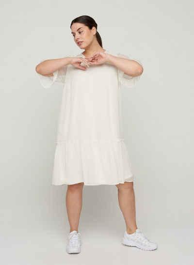 Zizzi Abendkleid Große Größen Damen Kleid mit 2/4-Ärmeln, V-Ausschnitt und Rüschen