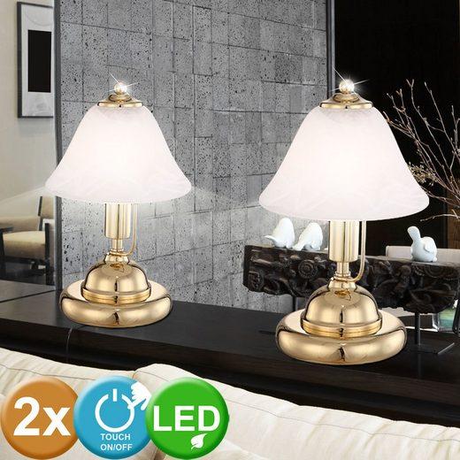 etc shop Tischleuchte, 2x LED Tischlampe Design Leuchte Touch Schalter Messing Beleuchtung ...