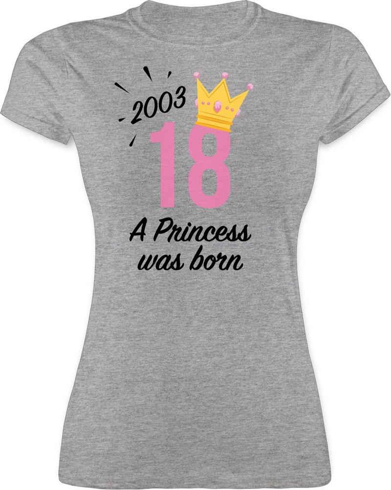 Shirtracer T-Shirt »2003 A Princess was born - 18 schwarz - Geburtstag Geschenk - Damen Premium T-Shirt« Geburtstagsgeschenk Birthday Party