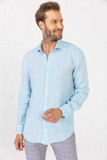 GABANO Leinenhemd »kühlendes Leinenhemd in 100% Leinen - Haifisch Kragen« Garment-Dye Effekt