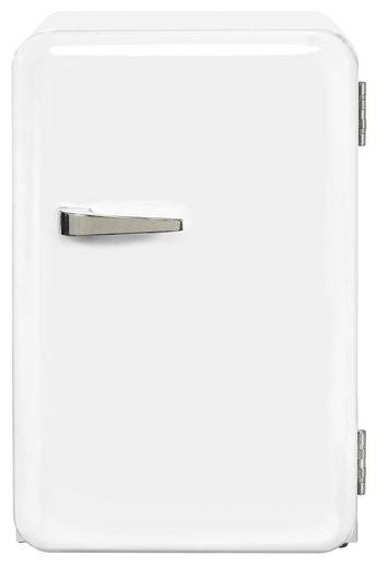 exquisit Kühlschrank RKB 60-14 A++, 68 cm hoch, 44 cm breit, Mini-Kühlschrank im Retro-Design