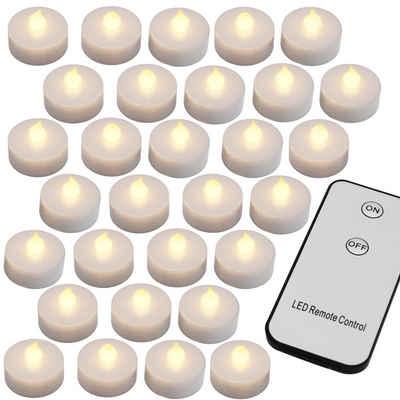 monzana LED-Kerze, 30 LED Teelichter mit Fernbedienung Flackernde Batteriebetriebene Kerzen inkl Batterie Warmweiß 3,7cm Elektrisch