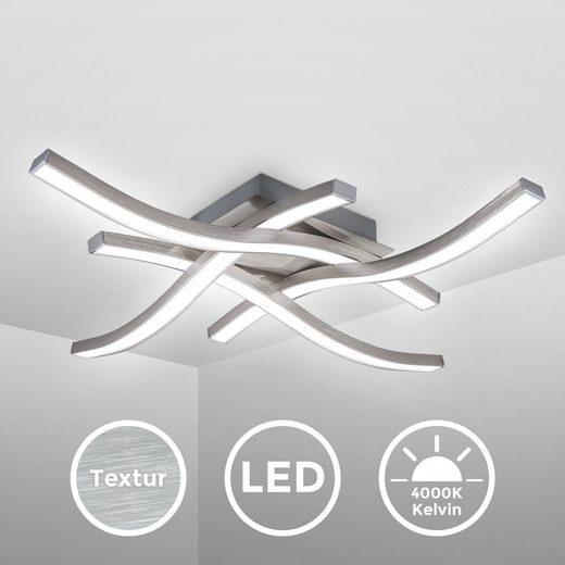 B.K.Licht LED Deckenleuchte  4-flammige Stab-Deckenleuchte  Wellenform  Alu-opti gebürstet