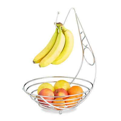 relaxdays Obstschale »Obstschale mit Bananenhalter«, Metall