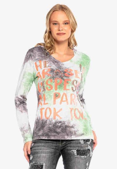 Cipo & Baxx Langarmshirt im Batik-Look