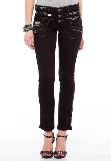 Cipo & Baxx Slim-fit-Jeans »Darkness« mit modischem Dreifach-Bund in Slim Fit