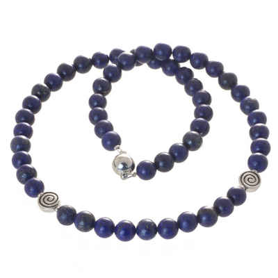 Bella Carina Perlenkette »Kette mit Lapislazuli und Silber Spiralen Spirale«, Lapislazuli mit Silber Perlen