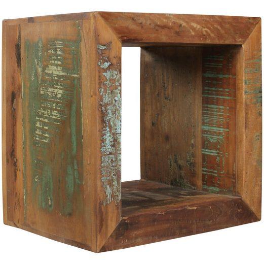 Wohnling Beistelltisch »WL5.072«, Kalkutta 45 x 45 x 35 cm Massivholz Cube Tisch für Wohnzimmer Wohnzimmertisch mit Ablage Nachttisch - Nachtkonsole - Nachtkästchen