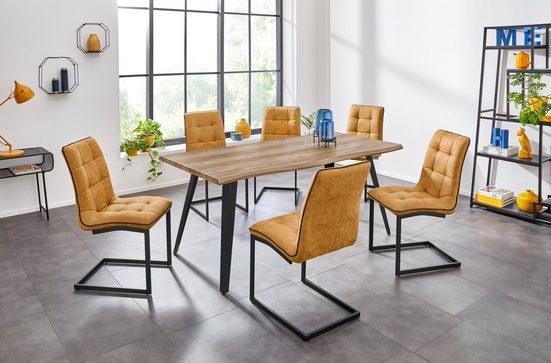 INOSIGN Esstisch »Nura«, mit einem schwarz lackiertem Metallgestell, Tischplatte mit edler Baumkante, in zwei verschiedenen Tischbreiten erhältlich