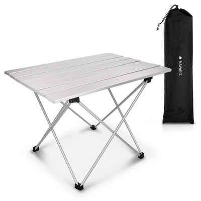 Navaris Campingtisch, Camping Klapptisch ultraleicht - 55,7x40,5x38,5cm Alu Tisch Balkon klappbar - Beistelltisch Balkontisch klein