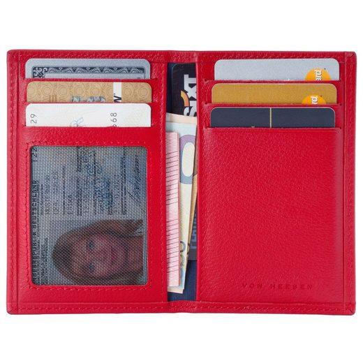 VON HEESEN Mini Geldbörse »Slim Wallet mit 8 Kartenfächern (rot)«