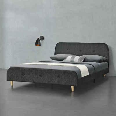 en.casa Polsterbett, »Silkeborg« 140x200cm Doppelbett Jugendbett Bett mit Lattenrost Leinen Dunkelgrau