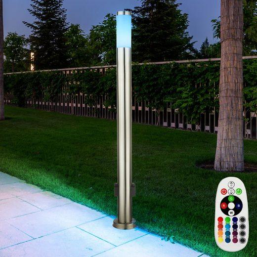 etc-shop LED Außen-Stehlampe, Aussenlampe mit Steckdosen Außensteckdose mit Licht Garten Aussensteckdose Edelstahl, Fernbedienung dimmbar, 1x RGB LED 9W 806lm 3000K, DxH 7,6x110 cm