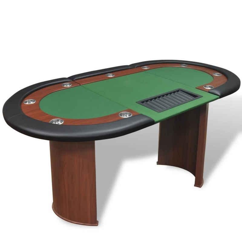 vidaXL Spieltisch »vidaXL Pokertisch für 10 Spieler mit Dealerbereich und Chipablage Grün«