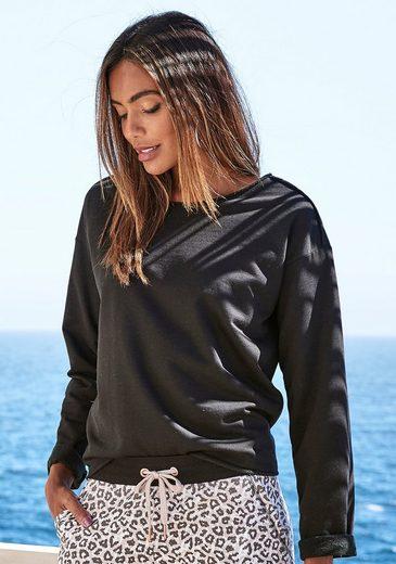 LASCANA Sweatshirt mit offenen Saumkanten