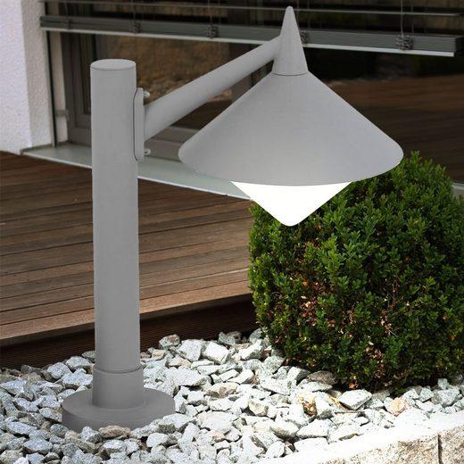 WOFI Gartenstrahler, Außen Steh Stand Lampe Garten Sockel Weg ALU Säulen Strahler Leuchte grau WOFI 379401500500