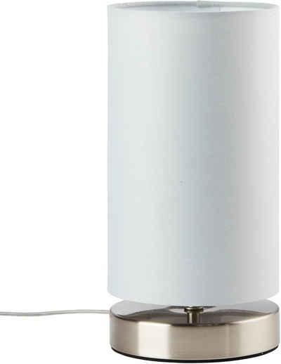 Lüttenhütt Tischleuchte »Lüchte«, Tischlampe mit Stoffschirm Ø 12 cm, hellgrau, Touch Dimmer