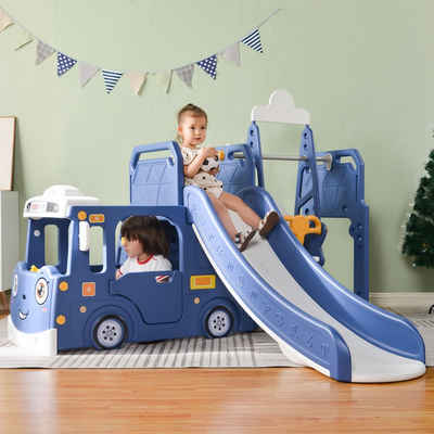 SOFTWEARY Spielturm »Multifunktionales Kinder Spielhaus mit Rutsche, Schaukel, Klettern und Basketballkorb«