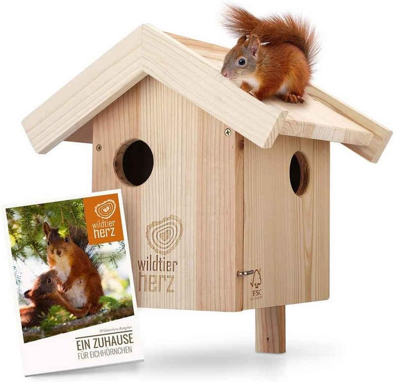 wildtier herz Eichhörnchenkobel »Eichhörnchen Kobel – Nest für Eichhörnchen aus verschraubtem Massiv-Holz, Eichhörnchenhaus und Nistkasten zum Hängen für den Garten«