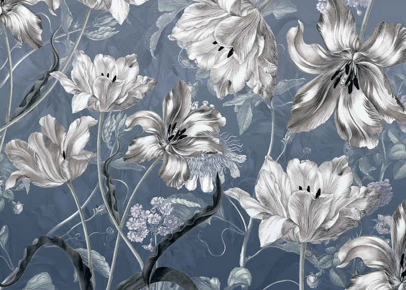 Komar Fototapete »Merian Blue«, glatt, bedruckt, floral, botanisch