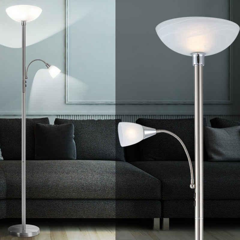 etc-shop LED Deckenfluter, RGB LED Stand Lampe Wohn Arbeits Zimmer Fernbedienung Lese Leuchte Flexo Steh Beleuchtung dimmbar